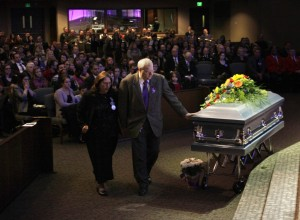 chuck and judy at funeral